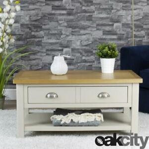 Dorset Grey Oak Coffee Table   1 Drawer Living Room Storage Table   Truffle Grey