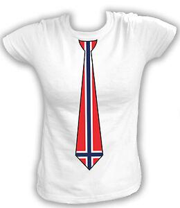 Damen T-Shirt KRAWATTE TIE NORWAY Norwegen Norge Kongeriket Noreg Oslo Football
