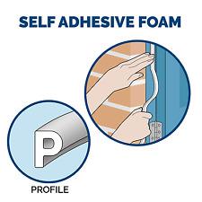 5m Window & door Draught Seal Self adhesive White P STRIP