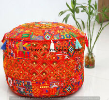 """Patchwork Round Handmade Cotton 22x14"""" Ottoman Indian Pouf Cover Stool Ethnic"""