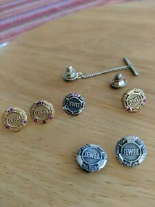 Vintage Collectible Pins Service Award  Jewel grocery 10k ruby diamond sterling