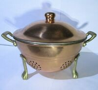 Vintage Copper Berry Strainer / Small Colander w Brass Claw Feet & Handles, Lid