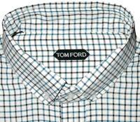$675 NEW TOM FORD WHITE AQUA & BLACK GRID MENS HAND MADE DRESS SHIRT EU 45 17.75