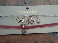 Monsoon Accessorize Pink Velvet Ribbon and Crystal Charm Choker Necklace Set