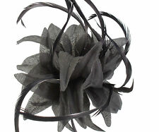 Black Fabric Flower Fascinator with Feathers - Wedding Races Hair Clip Corsage