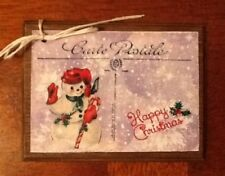 5 Handcrafted Wooden VINTAGE Christmas Ornaments - Hang Tags Set.ho