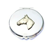 Horse Head Equestrian Compact Handbag Mirror  FREE ENGRAVING Ladies Gift