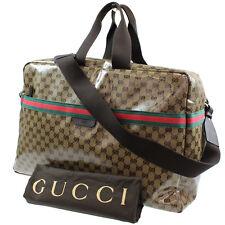 Gucci Original Gg Lona Cuero PVC Viaje Bolso de Mano Marrón Vintage #H591 M