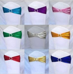 10 Metallic Spandex Chair Band for Folding Banquet Lycra Universal Chair Covers