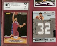 BLAKE GRIFFIN GAME USED JERSEY CARD & PANINI ROOKIE GRADED BECKETT BCCG 10 MINT+