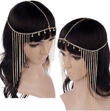 Gold Rhinestones egyptian goddess Hair Head Chain headdress Headpiece Headband