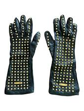 Burberry Prorsum Fall 2012 Gold Studded Black Leather Gloves