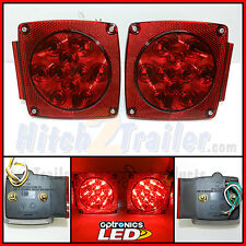 "(1) Set Trailer Under 80"" LED Square Tail Light Stud Mount Optronics Submersible"