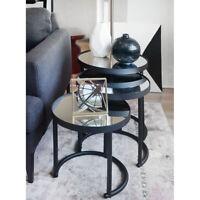 3-Piece Round Nesting Coffee Table (Black)