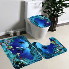 3Pcs Durable Velvet Dolphin Bathroom Contour Rug And Toilet Lid Cover Mat Usa