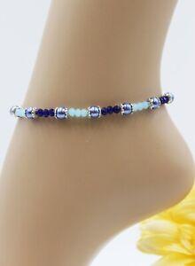 XS Fußkette Zarte Fußkettchen Silber Sommer Perlen Blau Strand #JA050