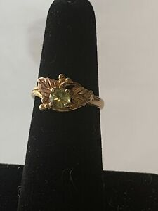 12k 10k Black Hills Gold Peridot Ring Sz 6 Grape Leaves Leaf Vintage Nice