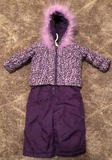 Toughskins Purple Girls 2 Piece Snow Bibs & Winter Coat Set Leopard Snowsuit 12M