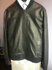 $898.00 ELIE TAHARI Men's Perforated Black Smooth Lamb Leather size XL