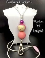Beaded Wooden Doll Lanyard,Children's/Teacher Mobile Phone Lanyard,ID Holder L53