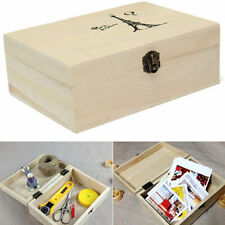 Effiel Tower painted Wooden Tool Storage Box Memory Small Chest Craft Box Novel