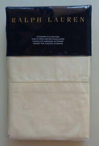 Ralph Lauren RL 624 Solid Sateen Standard Pillowcases Set of 2 Beige Cream NEW