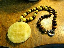 OLD MEDALLION CARVED MUTTON FAT JADE DRAGON NECKLACE TIGER EYE BEADS G.S.J.