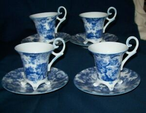 Immaculate Set of 4 Blue & White Demitasse Cups and Saucers - Excellent
