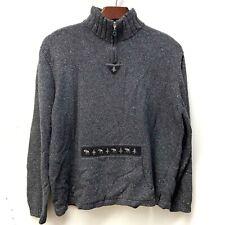 Woolrich Women's Size XL 1/4 Zip Sweater Front Handwarmer Pocket Moose & Tree