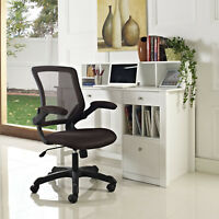 Ergonomic Swivel Adjustable Brown Mesh Faux Leather Computer Desk Office Chair
