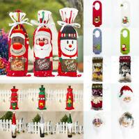Christmas Bottle Bag Gift Wrap Father Wine Cover Santa Claus Snowman Table Decor