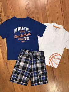 Gymboree NWT Sz 5-5T Blue Orange Basketball 3 Pc Tee & Polo & Plaid Shorts