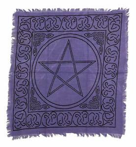 "Purple Black Pentagram Pentacle Cotton Altar Tarot Cloth 18"" X 18"""