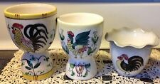 Lot 3 Rooster egg cups Porcelain 2 Double egg cups 1 Rooster & Roses