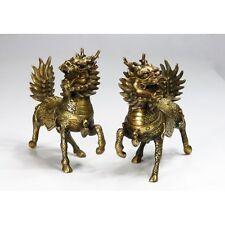 """Chinesische Bronzefiguren  """"Feng Shui Glückstier Qi Lin"""""""