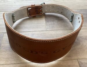 Vintage GOLDS GYM Belt BROWN LEATHER Weightlifting Support Double Buckle