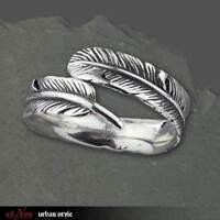 Echt etNox Silver Feather Feder Ring 925er Silber - Neu