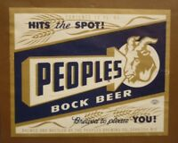 OLD BEER LABEL 1950s USA, PEOPLES BREWING CO OSHKOSH WISCONSIN, BOCK BEER