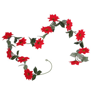 1.7 metre Poinsettia Christmas Garland Red Pack of 2
