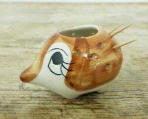 Small 85 mm Signed Studio Pottery Ceramic Hedgehog Toothpick Holder