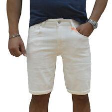 Bermuda Jeans uomo Slim fit Bianco Denim Shorts Casual Pantaloncini Estivi