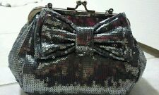 Evening Glamour BETSEY JOHNSON Silver Sequin W/ Bow 2 Way Party HANDBAG