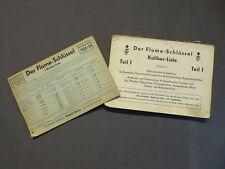 Der Flume - Schlüssel Kaliber - Liste Teil 1, Teil 2 Werksucher Nachtrag 1952