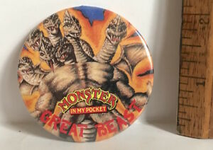 1990S VINTAGE TIN TOY MONSTER IN MY POCKET GREAT BEAST MATCHBOX PINBACK VGC!