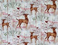 WINTER GARDEN  WHITE TAIL DEER REINDEER CHRISTMAS HOLIDAY COTTON FABRIC SPRINGS