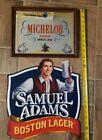 2 Beer signs Samuel Adams Boston Lager Beer Tin & Michelob Beer Mirror(man cave)