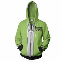 Invader ZIM Costume Printed Men Hoodie Zipper Sweater Sweatshirt Cosplay Jacket