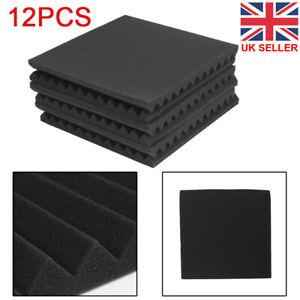 12Pcs Acoustic Wall Panels Sound Proofing Foam Pads Studio Treatments Tool