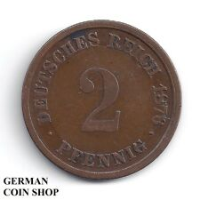 FEHLPRÄGUNG - Mehrfacher Stempelbruch 2 Pfennig 1876 D Kleiner Adler - SELTEN