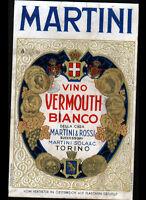 """ETIQUETTE Chromo ANCIENNE d'ALCOOL / VINO VERMOUTH SECCO """"MARTINI"""" de TORINO"""